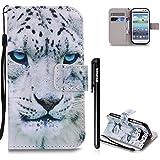 Galaxy S3 Hülle Weiß,BtDuck Ultra Slim PU Leder Buntes Muster Ledertasche Hülle Tasche Flip Buch Stil Strap Lederhülle Handyhülle Samsung Galaxy S3 Brieftasche - Blaue Augen Leopard
