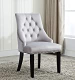 Tufted Velvet Fabric Studded Dining Chair Upholestered Accent Side Chair Victoria [ Grey * Light Grey * Blue * Black ] (Light Grey)