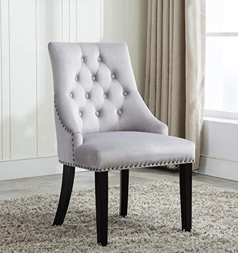 Esszimmer-möbel-outlet (MCC® Relax Design Stuhl Victoria mit Ring, samtigem Bezug und Dekorativen Nieten, in 4 Angesagten Farben (Hellgrau))