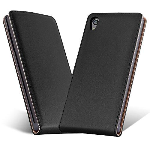 Preisvergleich Produktbild Cadorabo Hülle für Sony Xperia Z5 - Hülle in KAVIAR SCHWARZ – Handyhülle aus glattem Kunstleder im Flip Design - Case Cover Schutzhülle Etui Tasche