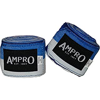 Ampro 4.5m Stretch Boxing Hand Wraps - Boxing / MMA / Martial Arts / Fitness / 450cm / Various Colours (Blue/White)