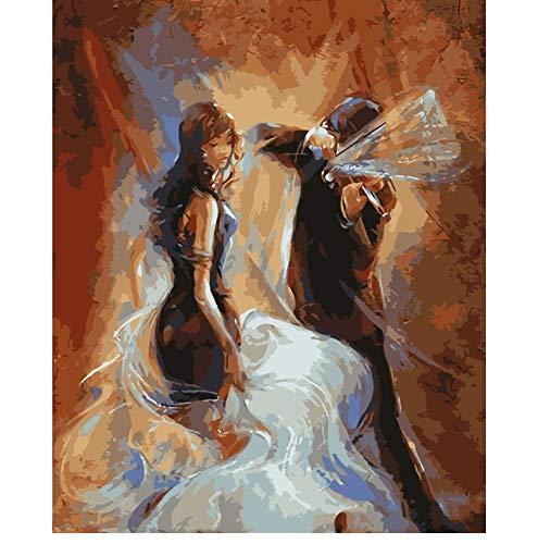 Msliuhuahua Rahmenloses Bild An Der Wand Acrylmalerei Nach Zahlen DIY Gemälde Ölgemälde Färbung Geige Spielen 40X50Cm Geschenk (E-geige-starter-kit)