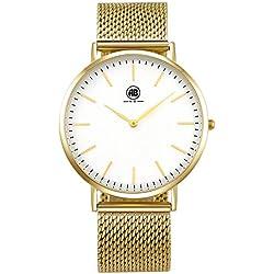 AIBI Wasserdichten Mesh Gold/Weiß Armbanduhr Edelstahl AB02601-2