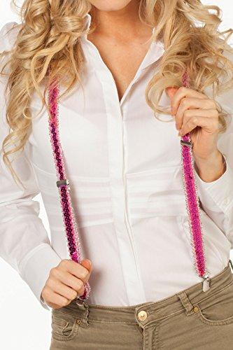 Preisvergleich Produktbild Jannes 55802 Deluxe Hosenträger mit Pailetten Neon Pink