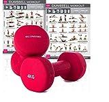 KG | PHYSIO Mancuernas de Neopreno para Mujer y Hombre (pesas vendidas en pares) GRATIS poster A3 doble cara para pared! Ideal para entrenar en casa. Rojo (2) x 4 Kg