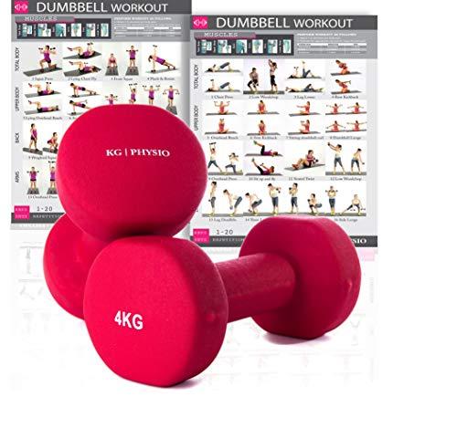 KG Physio Neopren Hanteln Gewichte | 2er Set | A3 Poster Enthalten (Rot)