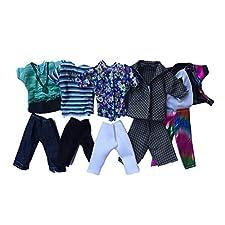 Barbie Bekleidung Sommer Sport Fashion T-Shirts und Shorts für Ken Barbie-Puppe Zufalls Stil 5set