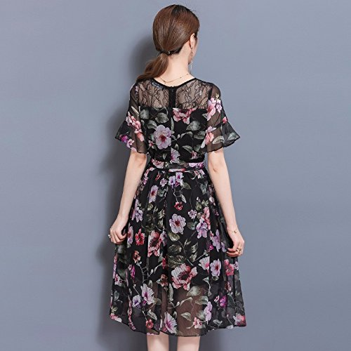 Stylish short-sleeved A skirt lace stitching chiffon dresses,M,Suit