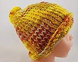 Bunte Kindermütze mit Bommel in gelb, orange, hellblau, grün und beige, handgestrickt, 52-55 cm Kopfumfang,'Herbstwind My Boschi' Handmade UNIKAT
