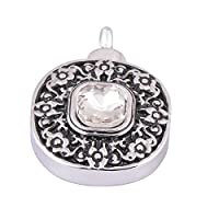 White Round Tag Memorial Ash Urn Necklace Stainless Steel Cremation Jewelry Pendant-Free Engraving