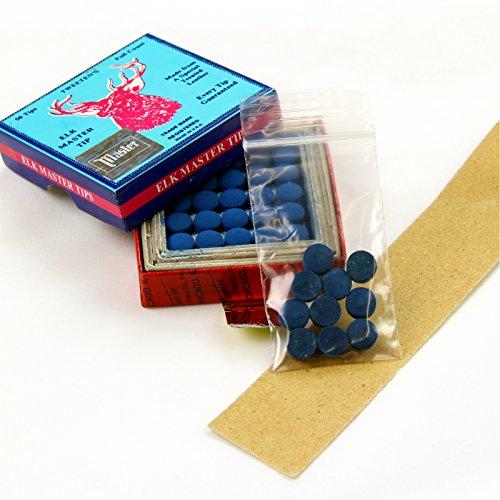 Preisvergleich Produktbild 10 x 9, 5 mm Tweeten Elk Master Leder Snooker Pool Queue Tipps – GRATIS Schleifpapier