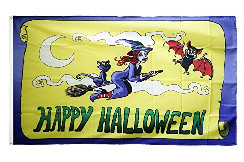 Fahne / Flagge Happy Halloween gelb + gratis Sticker, Flaggenfritze®