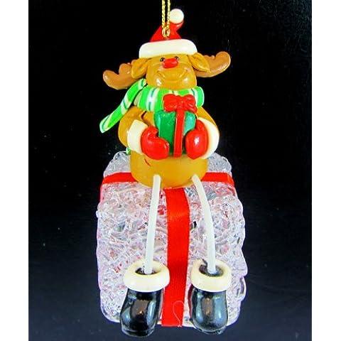 Gisela Graham–Luce Albero Di Natale Renna su Present appeso decorazioni