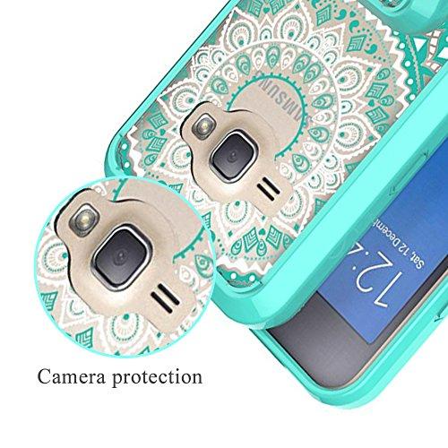 Sunroyal® Custodia per Samsung Galaxy Grand Prime SM-G530 / SM-G531FZ, Ultra sottile trasparente Cristallo TPU Silicone Gel Case Cover e PC Plastica Protettiva Skin Caso Bumper Slim Copertura Shell Da Datura