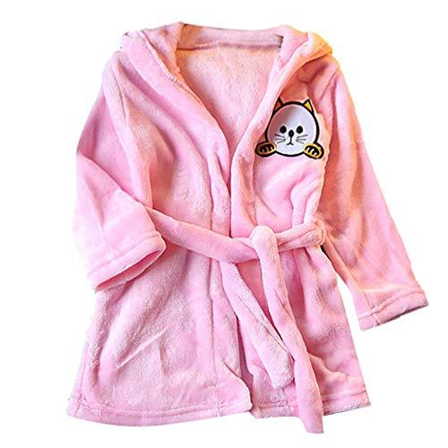 Oyedens (18M-5Y) Kinder Langarm Plüsch Cartoon Katze Ohr Kapuzen Nachthemd Pyjamas Baby-Jungen-Mädchen Scherzt Bademantel-Karikatur-Katzetiere-mit Kapuze Tuch-Pyjamas-Kleidung - Herz Lace Halter Top