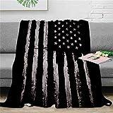 QNWLKJ Coperta Bianca Grunge Bandiera Americana Calda Microfibra Flanella Blanket Morbida 130X150Cm