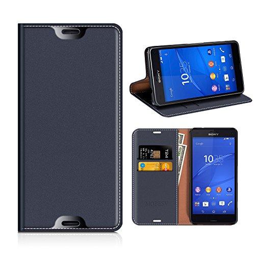 MOBESV Custodia in Pelle Sony Xperia Z3 Compact, Custodia Sony Xperia Z3 Compact Cover Libro/Portafoglio Porta per Cellulare Sony Xperia Z3 Compact - Blu Scuro
