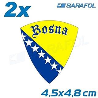 2x Bosnien Aufkleber Emblem (Nr.011) Sticker Bosna Naljepnica Bosnia 4,5x4,8 cm
