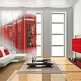 FLÄCHENVORHANG 3er SET inkl. Paneelwagen ~ Motiv: PHONE / Telefonzelle ~ Farben: weiß grau rot ~ 60cm breit x 245cm lang