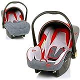 Babyschale DELUXE Autositz Babytrage + Fußsack & Sonnendach (ROT / GRAU / BEIGE) thumbnail