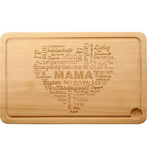 Küchenbrett - Schneidebrett aus natürlichem Buchenholz - für die Beste Mama der Welt - Holzbrett, Brotzeitbrett, Schneidbrett als Perfektes Geschenk für Alle Mütter Nicht Nur Zum Muttertag