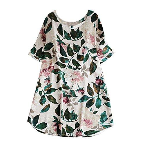 Heißer Sassanids Frauen Dame Blumendruck Mini Dress Sommer Party Kurzarm Dress Plus größe Eingewickeltes Hüftkleid Elegantes ()