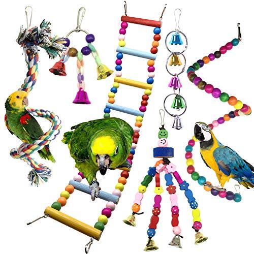 Jouets pour Oiseaux, PietyPet Coloré Oiseaux Jouets avec Cloches, Pont Échelles, Balançoire Jouet Oiseau Perché, Escalade Jouet, Décoration Animal Cages pour Perroquets Oiseaux Perruches, 6 Pièces