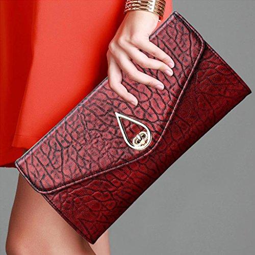 TaoMi Homw- Handtaschen-Frauen-Kupplung Neue Großraum-Multifunktions-Frühlings- und Sommer-Bankett-Paket-Damen-Handbeutel / mit Handgelenkbügel, Schulter-Bügel Rot