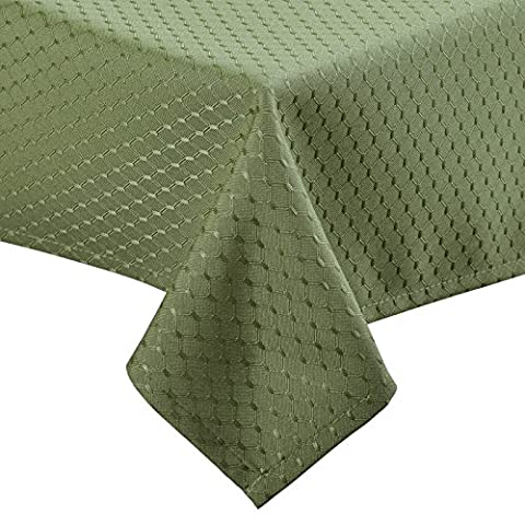 VEEYOO 152 x 259 cm Waffle Jacquard Rectangular Polyester Spillproof Tablecloth for Restaurant Kitchen Dining Party Decor, Sage