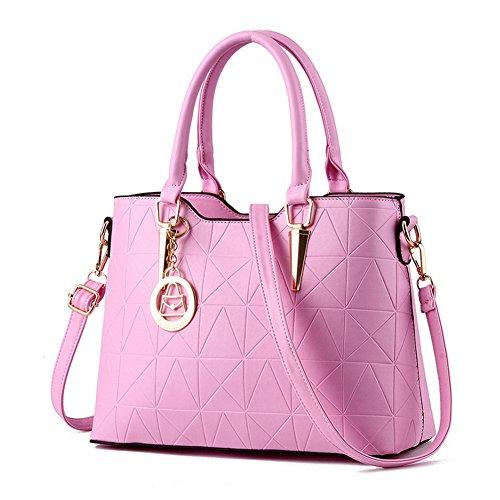 fanhappygo Frauen PU Leder Handtaschen Schultertaschen Tasche Handtasche Umhängetasche Schulter Beutel Reißverschluss Messenger Hobo Bag pink