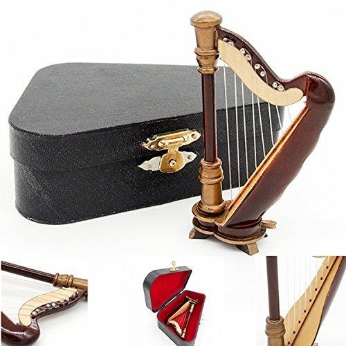 odoria-112-miniature-wooden-harp-with-black-case-music-instrument-dollhouse-accessories