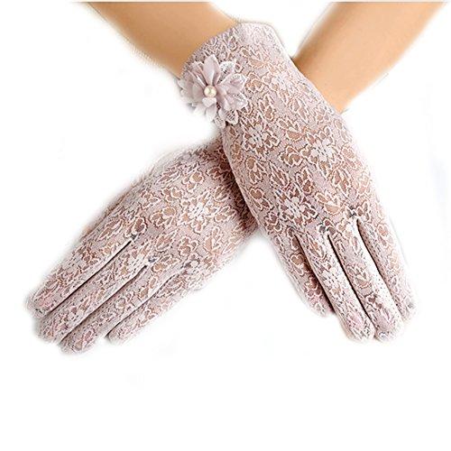 URSFUR Damen Schöne Hochwertige Spitze Sommer Sonnenschutz Handschuhe Netzhandschuhe spitzenhandschuhe Brauthandtuche - Kamee braun