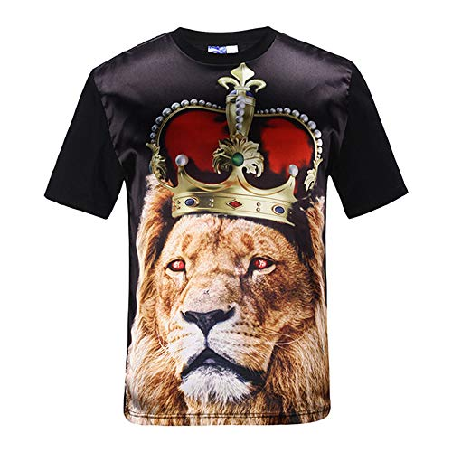 Herren T-Shirt Kurzarm Shirt Shirt lässig Basic Modelle,3D Lion Kurzarm T-Shirt 2 L Sonic Ringer
