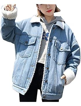 Mujer Chaqueta De Mezclilla Invierno Chaquetas De Vaquero Denim Jacket Calentar Casual