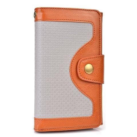 Cooper Cases(TM) Tatami Microsoft Lumia 535 / Dual Sim, 540 Dual Sim Smartphonehülle und Geldbörse in Braun (Zweifarbige Hülle, strukturiertes Webmuster, integrierter Bildschirmschutz, Kartenfächer, Ausweisfach,