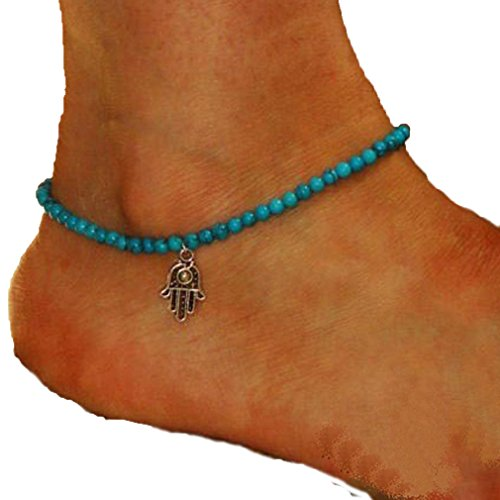 Voberry® 1 Pcs Lady Women Fashion Anklet Boho Beads Hamsa Fatima Anklets Foot Chain Beach Jewelry