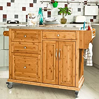 Sobuy Fkw14 N Xxl Bamboo Kitchen Storage Serving Trolley Cabinet