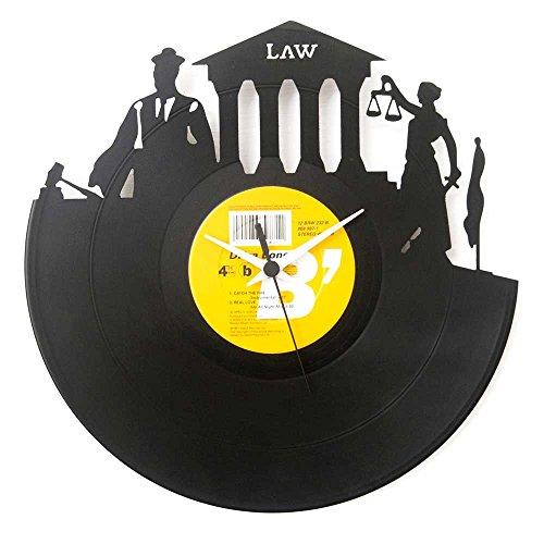 Universitätsabschluss Rechtswissenschaft Anwalt Geschenkidee Vynil Schallplatten-Uhr Schwarz Vinyluse original