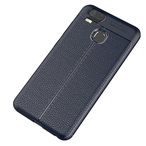ASUS Zenfone 3 Zoom Hülle, Tianqin Ultra Licht Schock Beweis Case Schroffes Silikon dünner Schützender Abdeckungs Carbon Faser Kasten Cover für ASUS Zenfone 3 Zoom Schutzhülle - Blau