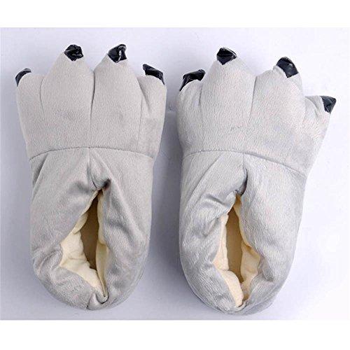 Paws Cartoon Baumwolle Hausschuhe,Paw Claw Schuhe,Warme Pfote-Greifer-Schuhe,Paw Claw Shoes,Claw Shoes,Klaue Schuhe,Creative Hausschuhe Grau