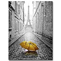 ZJMI Canvas Picture Print,Cityscape Poster Eiffel Tower Umbrella Print Wall Art Canvas Painting Black White Picture Modern Home Decor
