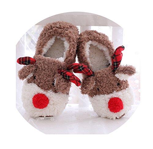 Wärme u. Weiche Kuschelige Elch-Plüsch Hausschuhe für Damen / Erwachsene, Pantoffeln Gr.35-40, (Kostüme Weihnachtsmann Rentier Erwachsenen Der Auf Einem)