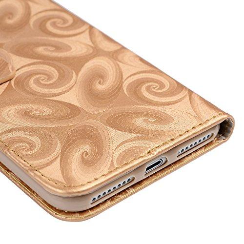Mavis's Diary iPhone 7 Plus(5,5 Zoll) Hülle Lila Tasche Flüssigkeit Treibsand Wein Glass Sanduhr PU Ledercase Cover Schutzhülle Scratch Brieftasche Case Hülle mit Kartenfächer und Bargeld Telefon-Kast Gold