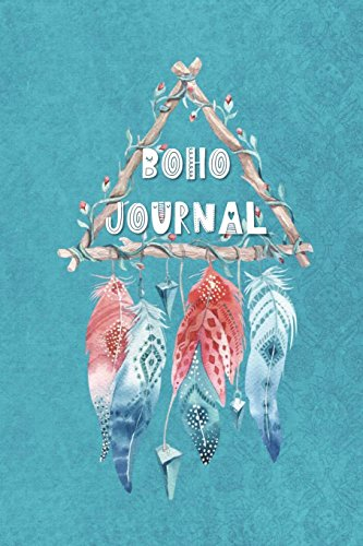 Boho Journal: 140 Lined Pages Softcover Notes Diary, Creative Writing, Class Notes, Composition Notebook - Teal Pink Feathers por Simple Planners and Journals