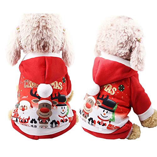 Red ROSEY Cane Gatto Vestito Natale Abbigliamento Pet Cappotto Invernale con Cappuccio Regalo Abbigliamento