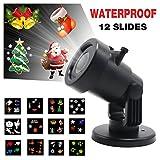 LED-Landschaft-Projektor-Lichter, Yocuby Innen- / im Freien IP44 imprägniern automatisch bewegliche Schneeflocke-Scheinwerfer-Lampe, mit 12 Mehrfarbenmustern austauschbar für Weihnachten, Halloween, Geburtstag, Feier, Feiertag, Wddding Party-Dekoration