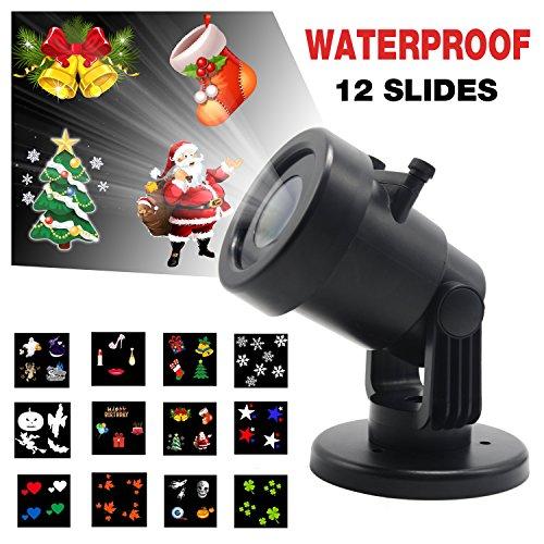 LED-Landschaft-Projektor-Lichter, Yocuby Innen- / im Freien IP44 imprägniern automatisch bewegliche Schneeflocke-Scheinwerfer-Lampe, mit 12 Mehrfarbenmustern austauschbar für Weihnachten, Halloween, Geburtstag, Feier, Feiertag, Wddding Party-Dekoration (Landschaft Beleuchtung Im Boden)