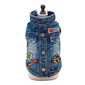 Vetement Chien/Chat Angelof Accessoires Pour Chiot Manteaux Habit Vestes De Cowboy Bleu Jeans