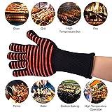 AFDEAL Hitzebeständige Kochhandschuhe für BBQ, Kochen, Backen Schweißen, Rot Spinnenmuster Grillhandschuhe bis zu 800°C (1 Packung)