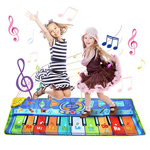 LEADSTAR Klaviermatte Musikmatte Kinder Klaviertastatur Musik Playmat Spielzeug 130*48 cm, Funny Dance Mat for Babys Toddler Boys and Girls Gift